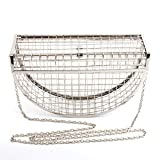 Yunhigh Silver Evening Bag Clutch Women Shoulder Bag Metal Mesh Luxury Sling Bag Hollow Crossbody Handbag with Chain Strap for Party Wedding