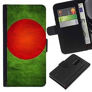KLONGSHOP // Tirón de la caja Cartera de cuero con ranuras para tarjetas - Nacional bandera de la nación País Bangladesh - LG G3 //