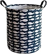 KUNRO Large Sized Round Storage Basket Waterproof Coating Organizer Bin Laundry Hamper for Nursery Clothes Toy