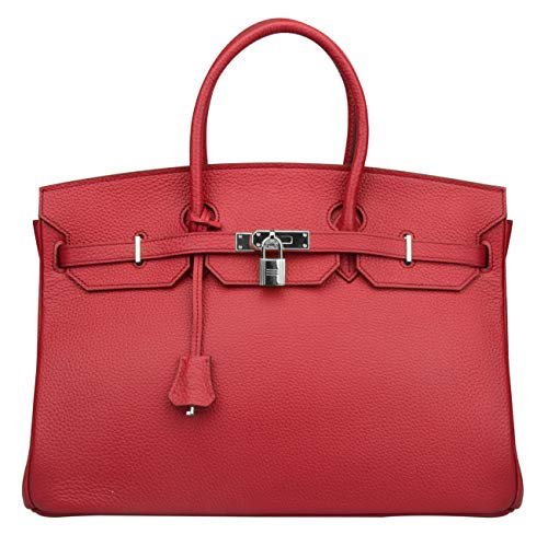 Women's Genuine Leather Oversized Handbags And Purse Briefcase Large Bags On Sale (15.7'' (40cm) Silver Hardware, Claret red) ()