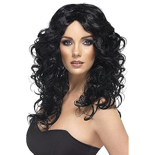 Smiffyu0027s Womenu0027s Long and Curly Black Wig One Size Glamor Wig 5020570421499  sc 1 st  Amazon.com & Costume Wigs: Amazon.com