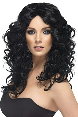 Smiffy's Women's Long and Curly Black Wig, One Size, Glamor Wig, (Halloween Wigs)