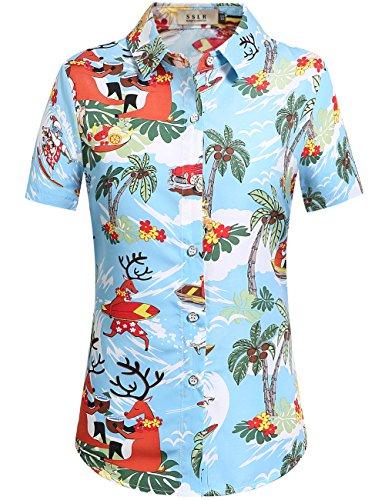 SSLR Women's Santa Claus Party Tropical Ugly Hawaiian Christmas Shirts (X-Small, - Santa Blue Christmas
