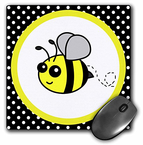 Bumble Bee Electronic (3dRose LLC 8 x 8 x 0.25 Inches Mouse Pad, Cute Yellow Bumble Bee on Black/White Polka Dots (mp_57078_1) )