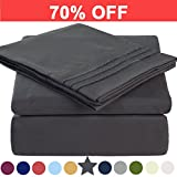 Eastern King Bed in a Bag Microfiber King Size Bed Sheet Set - Made Of 100% Brushed Microfiber Polyester 1800 Series - Extra Deep Pocket - Stain Resistant, Warm, Breathable And Hypoallergenic - 4 Piece (Dark Grey) - TEKAMON