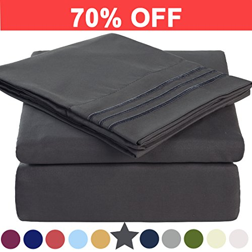 Queen Size Bed Sheets (Microfiber Queen Size Bed Sheet Set - Made Of 100% Brushed Microfiber Polyester 1800 Series - Extra Deep Pocket - Stain Resistant, Warm, Breathable And Hypoallergenic - 4 Piece (Dark Grey) - TEKAMON)