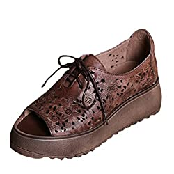 Mordenmiss Women's Peep Toe Lace Up Platform Shoes Hollow Out Sandals Style 1-COFFEE US 6.5-7