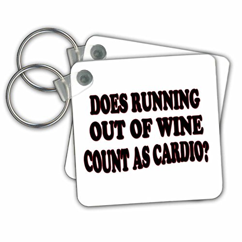 RinaPiro - Alcohol Quotes - Does running out of wine count as cardio - Key Chains - set of 4 Key Chains - With Images Quotes Running