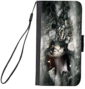Rikki KnightTM Halloween Zombies on Grey Design Galaxy S6 Premium PU Leather Wallet Type Flip Case with Magnetic Flap for Samsung Galaxy S6