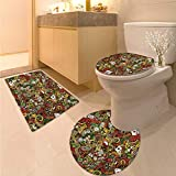Anhuthree Casino Toilet Floor mat Set Doodles Style Artwork of Bingo and Cards Excitement Checkers King Tambourine Vegas Printed Bath Rug Set Multicolor