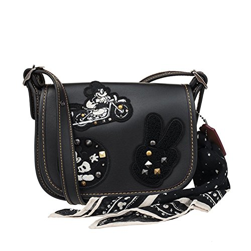 COACH MICKEY Patricia Saddle 18 in Glove Calf Leather with Mickey Patches Black by Coach