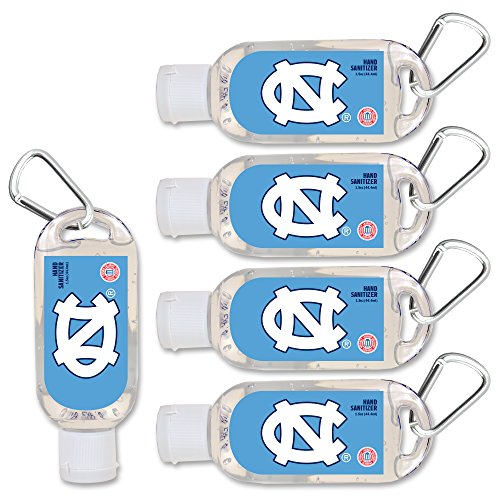 NCAA North Carolina Tar Heels Hand Sanitizer with Clip, 5-Pack. Moisturizers Aloe Vera and Vitamin E. (1.5 oz Containers) NCAA Gifts for Men and Women, Christmas Stocking Stuffers ()