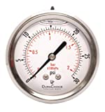 2-1/2'' Liquid Filled Pressure Gauges - Stainless Steel Case, Brass, 1/4'' NPT, Center Back Mount Connection 0-30PSI