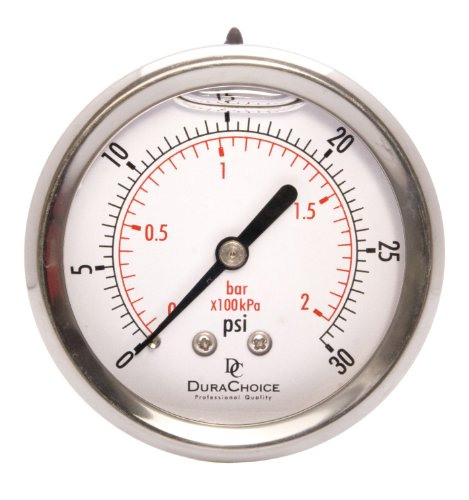 2-1/2'' Liquid Filled Pressure Gauges - Stainless Steel Case, Brass, 1/4'' NPT, Center Back Mount Connection 0-30PSI by DuraChoice