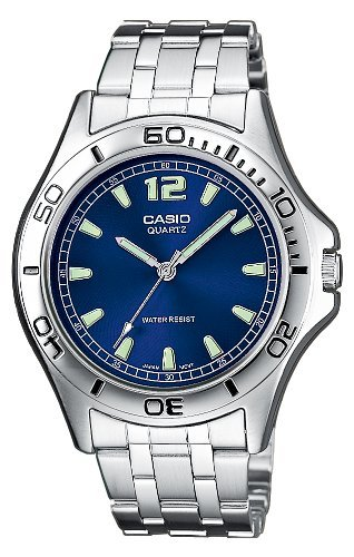 Casio Mtp-1258D-2Aef Gents Watch Quartz Analogue Blue Dial Silver Steel Strap