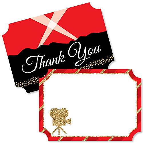 Red Carpet Hollywood - Shaped Thank You Cards - Movie Night Party Thank You Note Cards with Envelopes - Set of 12 -