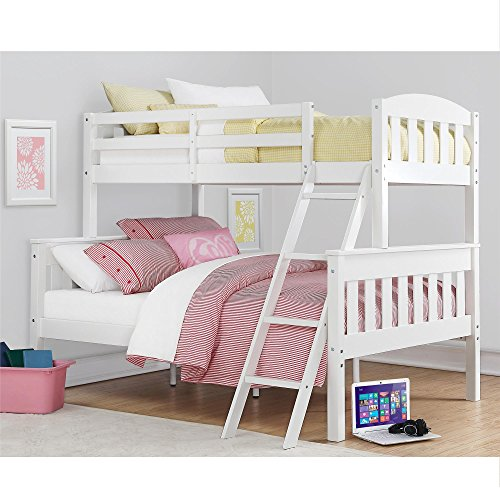 Dorel Living Airlie Solid Wood Bunk Beds Twin Over Full with Ladder and Guard Rail, White (Low Ladder)