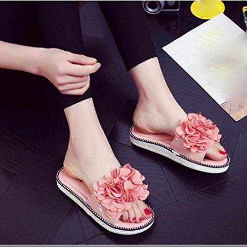 OverDose Damen Blume Sommer Sandalen Flops Hausschuhe Strand Flache Schuhe Rosa