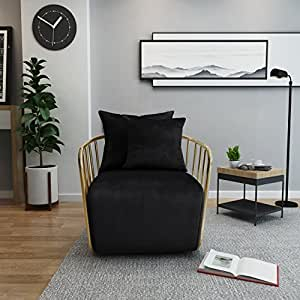 Miya Modern Black Velvet Club Chair with Gold Finished Stainless Steel Frame