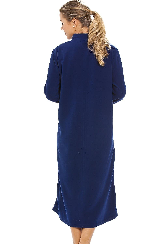 Camille Womens Ladies Luxury Navy Blue Zip Up Housecoat Bath Robe 10 ...