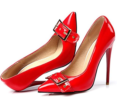 CSDM Donne Stiletto Heel Scarpe da sposa Pochette a bocca liscia punta punta a cinghia metallica Fibbia ad altezze Large Size Scarpe , red , 46 custom 2-4 days do not return