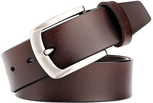 WERFORU Men's Real Leather Dress Belt Fixed Loop with Sport Car Buckle AC3006