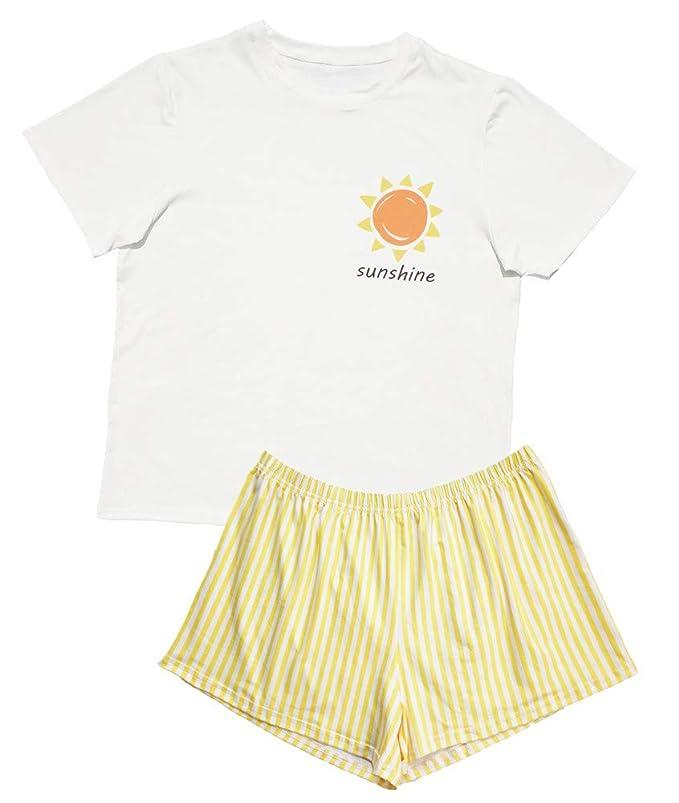 Mssd Cute Cartoon Pj Sets For Women Short Sleeve Tee Shirt Sleepweare Ladies Pajama Set by Mssd