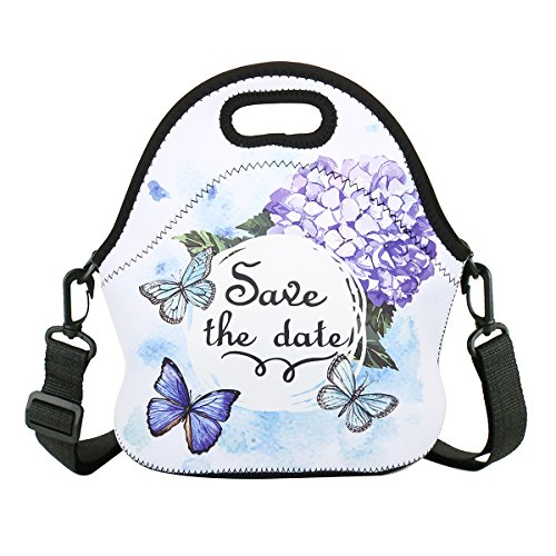 Neoprene Lunch Bag with Strap Thermal Insulated Lunch Box Tote Waterproof for Women Men Teens Teenage, Butterfly