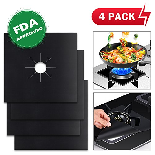 "Wimaha 4 Pack Gas Hob Range Protectors Reusable Stovetop Burner Liner Non-Stick, FDA Approved, Double Thickness, 10.6"" x 10.6"", Black"