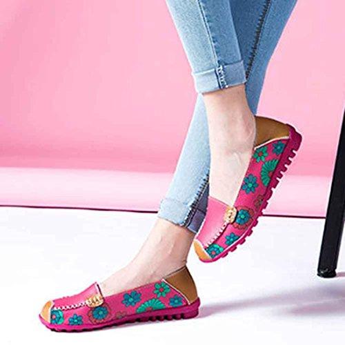 Ama (tm) Femme En Cuir Fleur Mocassins Imprimés Casual Bateau Chaussures Plates Rose Vif