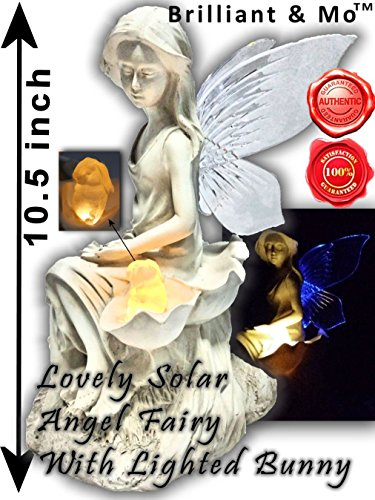 10.5 Inch Tall Solar Angel Fairy Statue Sitting With Lighted Yellow Bunny