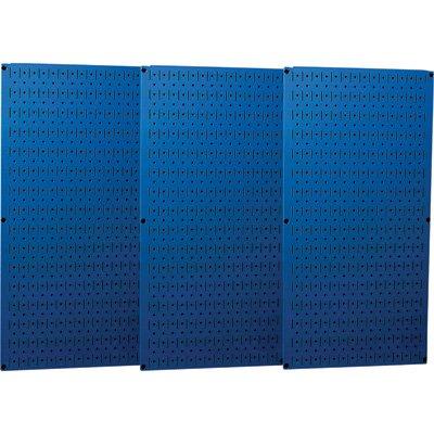 Wall Control Industrial Metal Pegboard - Blue, Three 16in. x 32in. Panels, Model# 35-P-3248BU