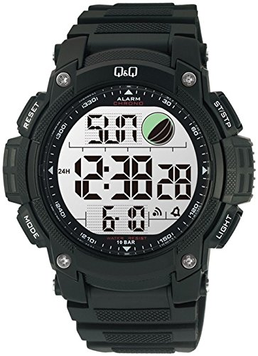 Q amp;Q Regular Digital White Dial Men #39;s Watch   M119J001Y