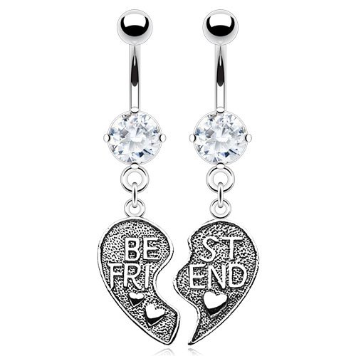 Heart Set Belly Button Ring - 5