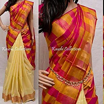 fa5af534d9 janaki traders Women's Silk Uppada Pattu Saree with Blouse Piece (123,  Multicolour, Free Size): Amazon.in: Clothing & Accessories