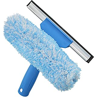 Unger Professional Microfiber Window Combi: 2-in-1 Professional Squeegee and Window Scrubber, 6""