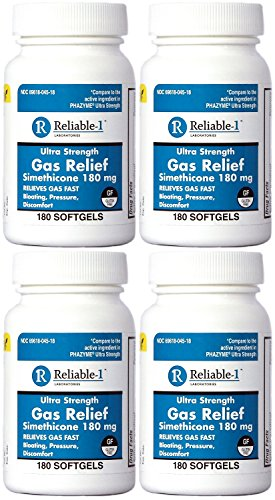 Simethicone 180 mg 720 Softgels Anti-Gas Generic for Phazyme Ultra Strength Fast Relief of Stomach Gas and Bloating 180 Gelcaps per Bottle Pack of 4 Total 720 Gelcaps