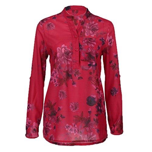 5xl Adeshop Chemise T Mode Chemisier Rouge shirts Pull shirt Manches T En Tops Grande Gilet Mousseline À Floral Longues Chic S V Imprimer Femmes Taille Slim Col Haut Élégant xrpxw65