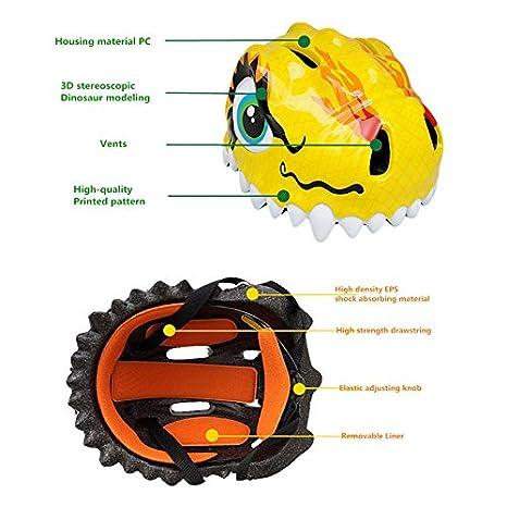Casco de bicicleta infantil, montañismo Cascos, infantil de Caricatura de dinosaurios Casco Bicicleta Casco Casco de seguridad para niños, azul: Amazon.es: ...