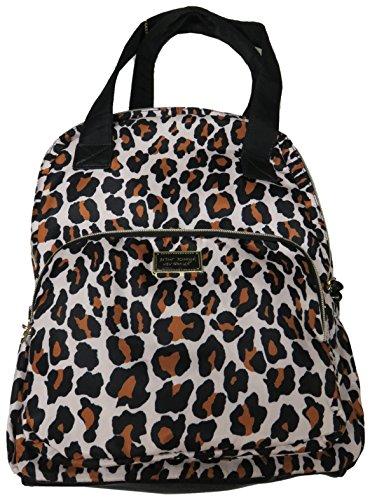 Betsey Johnson Backpack w Pom Pom (Tan Leopard)