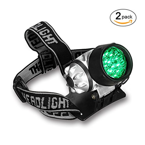 Intensity Headlamp - 2-Pack Grow Room Headlight 19-bulb High Intensity LED Green Light Gardening Headlamp for Grow Tent