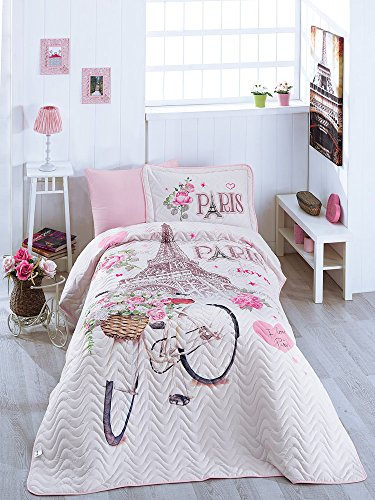 Bekata Paris Love, 100% Cotton Bed Cover Set, Single/Twin Size Bedspread/Quilt Set for All Season, Paris Bedding Linens Eiffel Tower Themed, Fitted Sheet Included, 4 PCS, Pink by Bekata