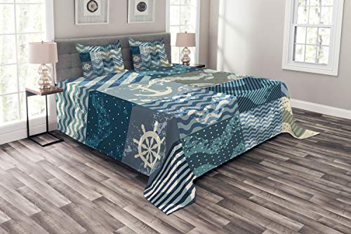 Ambesonne Nautical Bedspread, Marine Theme Wave Patterns in Patchwork Style Boxes Squares Striped Anchor Print, Decorative Quilted 3 Piece Coverlet Set with 2 Pillow Shams, Queen Size, Blue Beige (Nautical Quilt Patchwork)