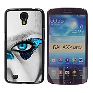LECELL -- Funda protectora / Cubierta / Piel For Samsung Galaxy Mega 6.3 I9200 SGH-i527 -- Blue Butterfly Beautiful Eye --