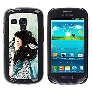 TopCaseStore / la caja del caucho duro de la cubierta de protección de la piel - Lady Woman Deep Sad Blue - Samsung Galaxy S3 MINI NOT REGULAR! I8190 I8190N
