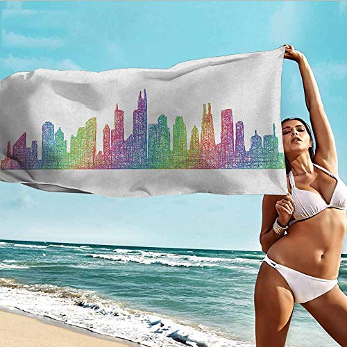 Antonia Reed Custom Kid Towel Chicago Skyline,Abstract City Scene in Mixed Rainbow Tones Modern Featured Artful Kitsch,Multicolor,Suitable for Home,Travel,Swimming Use 32