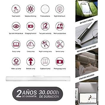 BLANCO Bateria 3.7V 2000mah Para camping,para armario,para oficina etc POPP Linterna magica actica USB Linternas LED Recargables 4modos 6000k,4000k,3000k,intermitente blanco.Lumen 200lm