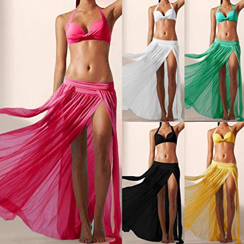 Beach Noir Floral Couleur Dress Pure Cover Beachwear Jupe Bikini Up Swing Bohme Sixcup Femmes Fente Midi qptgt