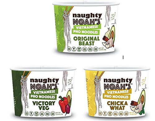 Naughty Noah's Vietnamese Pho Noodles | Variety Original Beast, Chicka What, & Victory Veg (6-pack) | Vegan | Non-GMO | Noodle Bowl