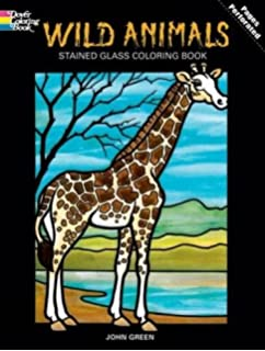 DOVER PUBLICATIONS Stained Glass Color Book Wild Animals 269825